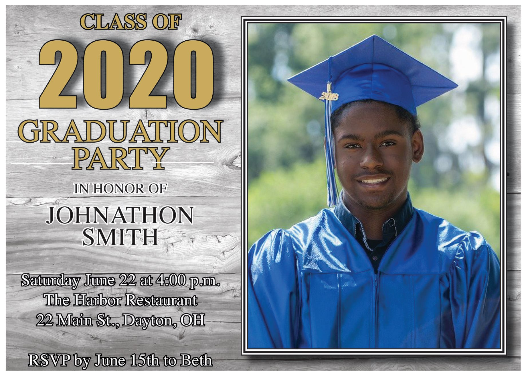 Printed Graduation Party Announcement Card