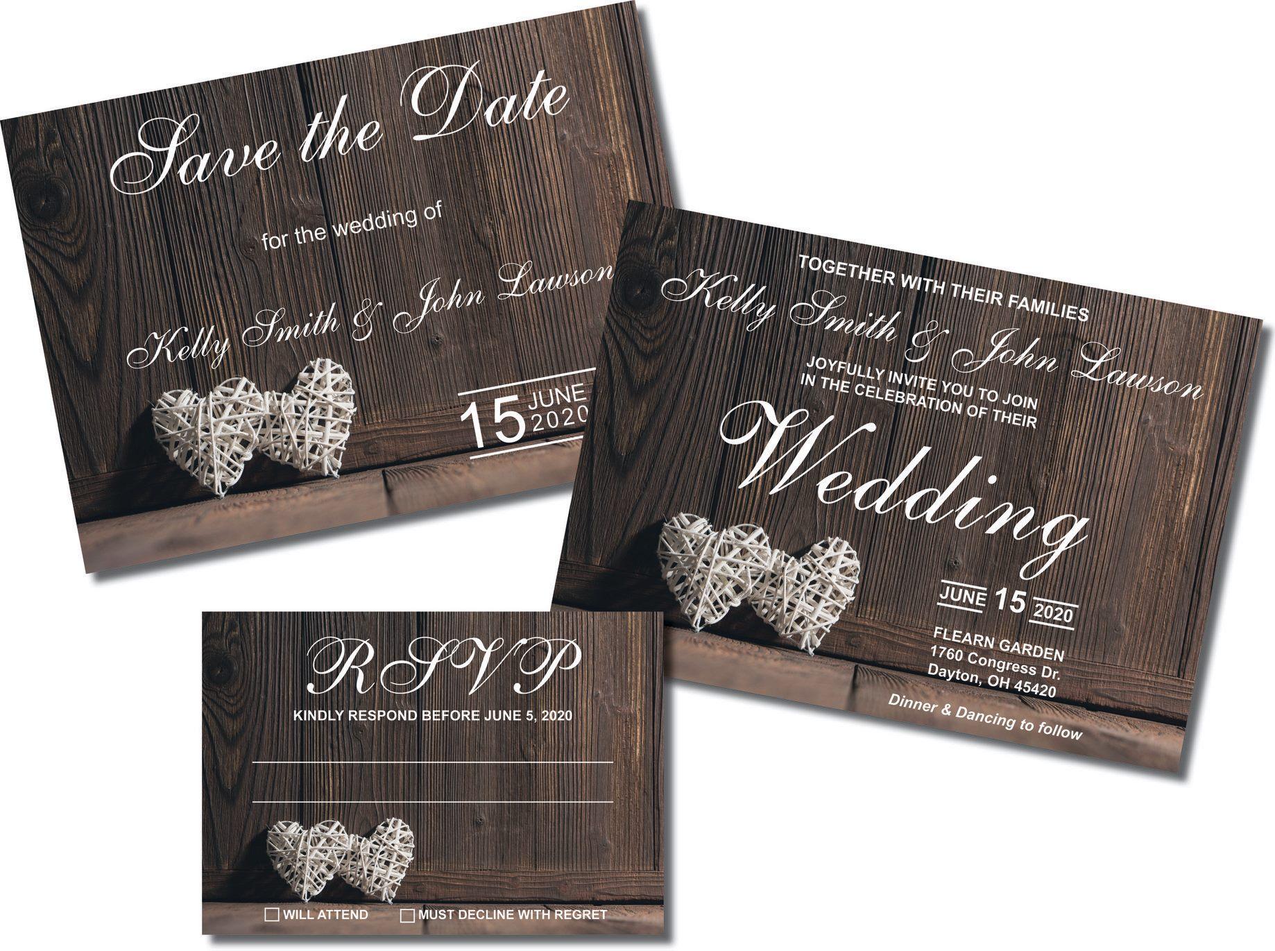 Printed Rustic Wedding Invitation